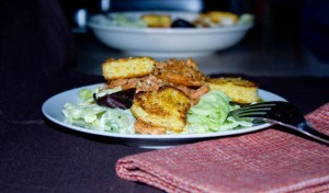 BBQ Salmon Salad with Heart Shaped Cornbread Croutons