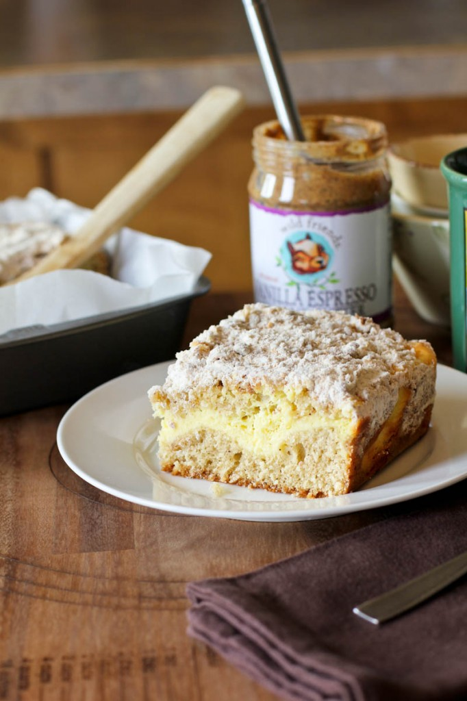 Vanilla Espresso Almond Butter and Cream Cheese Coffee Cake|www.juliesjazz.com