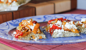Cauliflower Bread Topped with Sweet Peppers and Feta