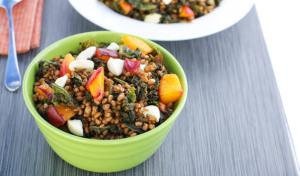 Wheat Berry Kale and Roasted Nectarine Salad
