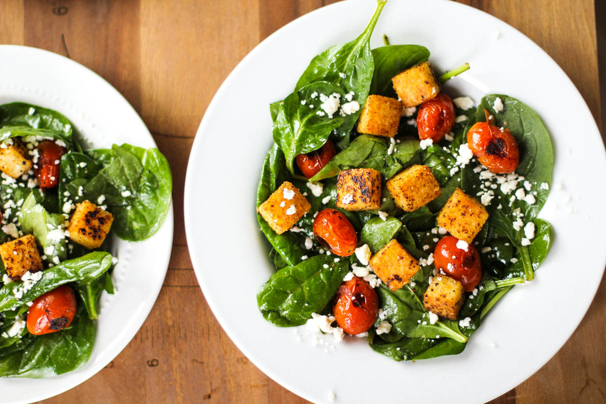 Burst Tomato and Spinach Salad with Polenta Croutons and ...