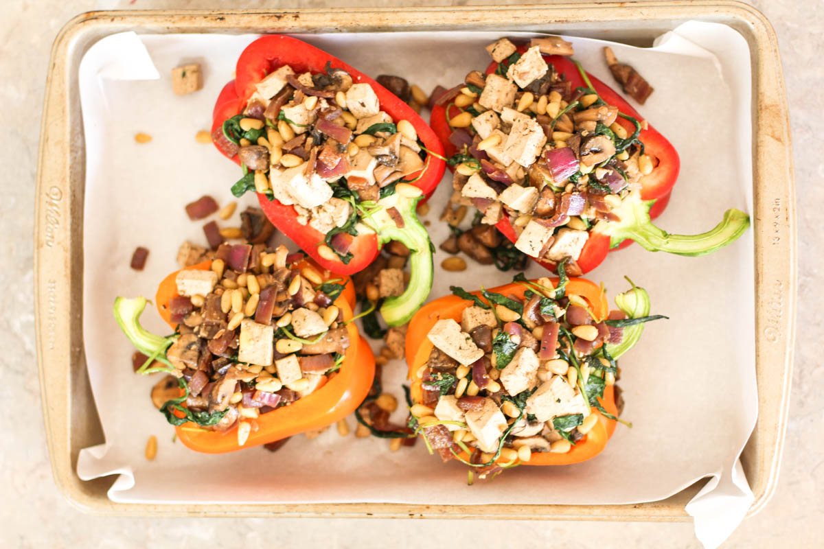 Mushroom and Tofu Stuffed Peppers | Julie's Jazz