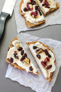 Ricotta Toast with Red Walnuts Cranberries and Syrup