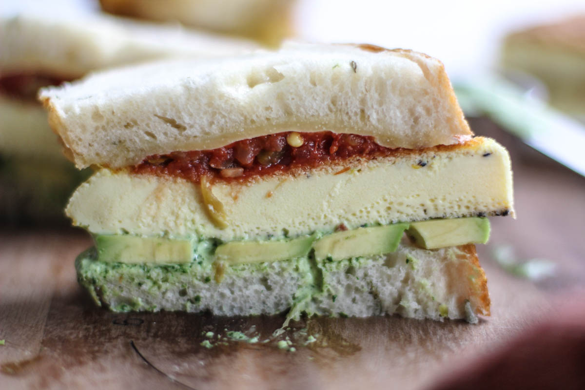 Egg Patty Cheddar and Avocado Sandwiches with Salsa and a Cilantro ...