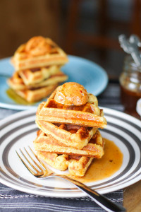 Sweet and Savory Cornbread Waffles with a Buttery Chili and Lime Syrup